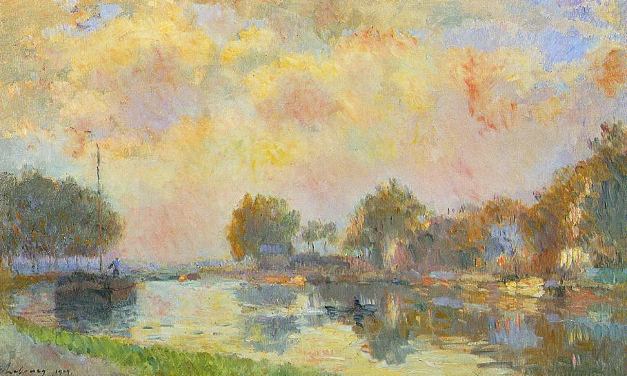 The banks of the canal at Charenton, Sunny Autumn Afternoon
